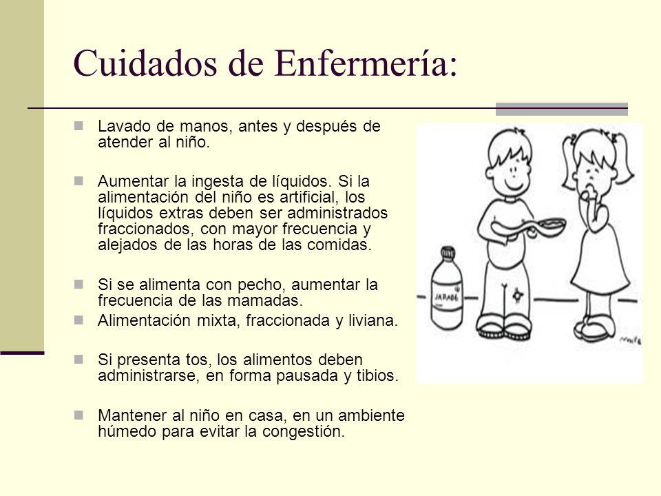 Cuidados de Enfermería: Lavado de manos, antes y después de atender al niño.