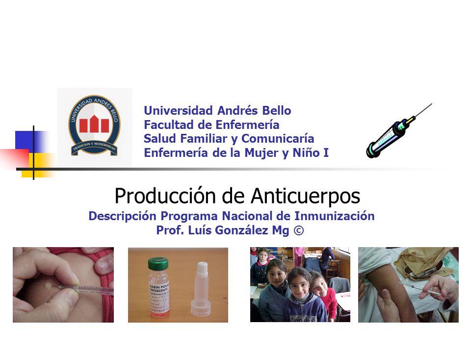 Universidad Andrés Bello Facultad de Enfermería Salud Familiar y Comunicaría Enfermería de la Mujer y Niño I Producción de Anticuerpos Descripción Programa Nacional de Inmunización Prof.