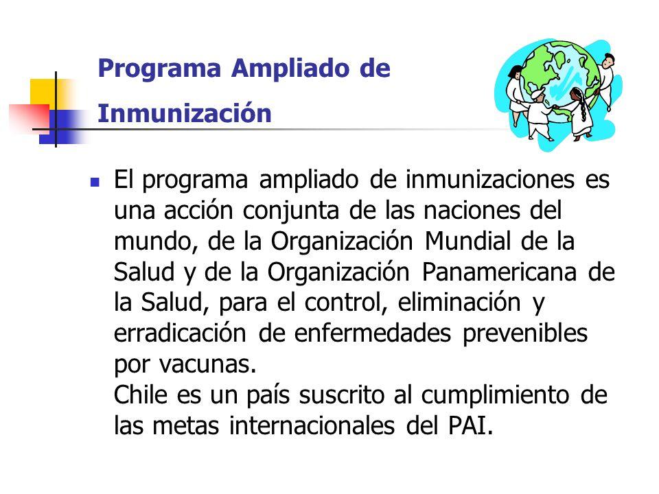 Programa Ampliado de Inmunización El programa ampliado de inmunizaciones es una acción conjunta de las naciones del mundo, de la Organización Mundial de la Salud y de la Organización Panamericana de la Salud, para el control, eliminación y erradicación de enfermedades prevenibles por vacunas.