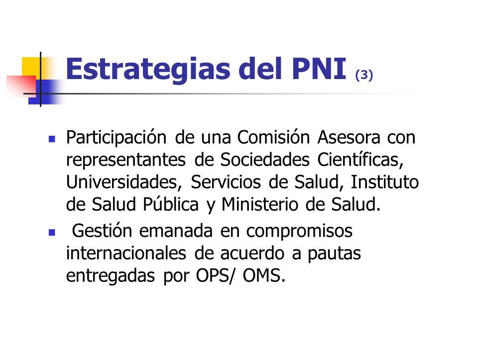Estrategias del PNI (3) Participación de una Comisión Asesora con representantes de Sociedades Científicas, Universidades, Servicios de Salud, Instituto de Salud Pública y Ministerio de Salud.