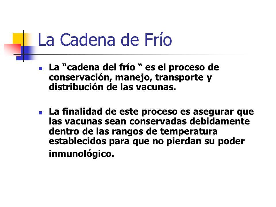 La Cadena de Frío La cadena del frío es el proceso de conservación, manejo, transporte y distribución de las vacunas.