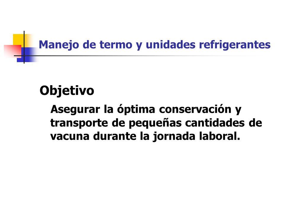 Manejo de termo y unidades refrigerantes Objetivo Asegurar la óptima conservación y transporte de pequeñas cantidades de vacuna durante la jornada lab
