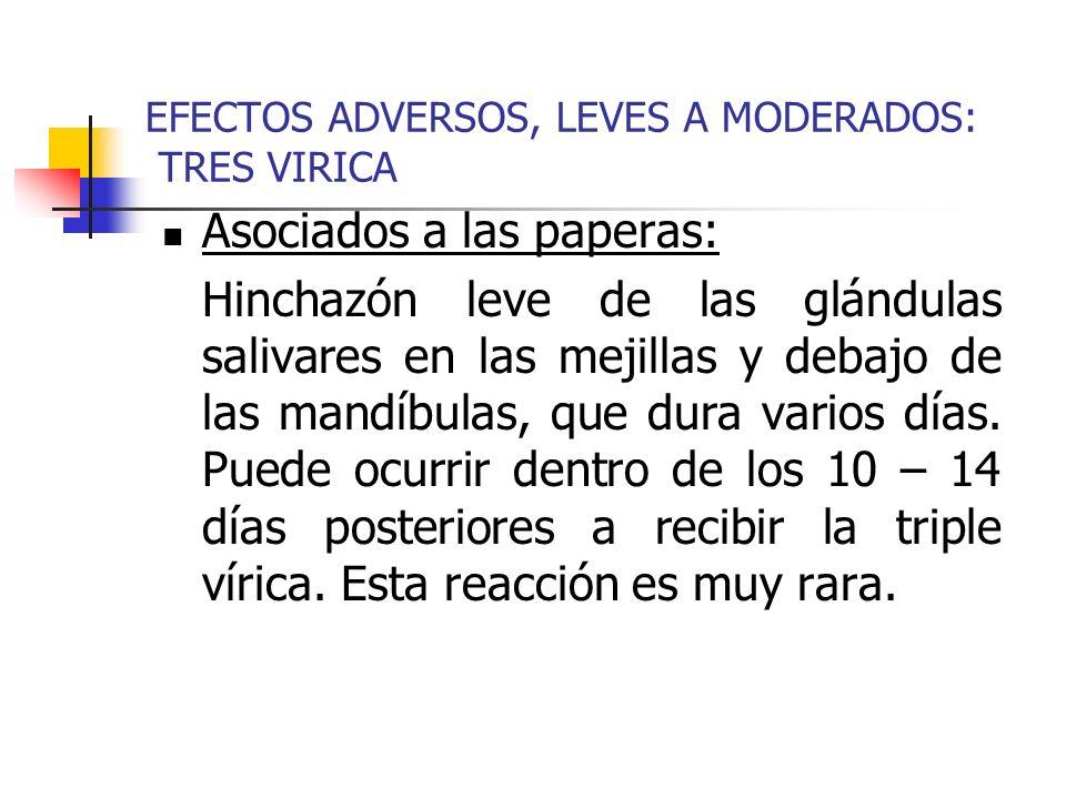 EFECTOS ADVERSOS, LEVES A MODERADOS: TRES VIRICA Asociados a las paperas: Hinchazón leve de las glándulas salivares en las mejillas y debajo de las mandíbulas, que dura varios días.