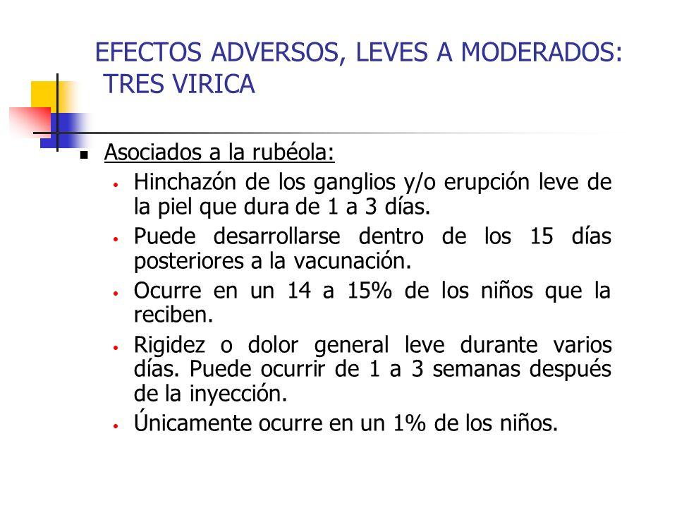 EFECTOS ADVERSOS, LEVES A MODERADOS: TRES VIRICA Asociados a la rubéola: Hinchazón de los ganglios y/o erupción leve de la piel que dura de 1 a 3 días.