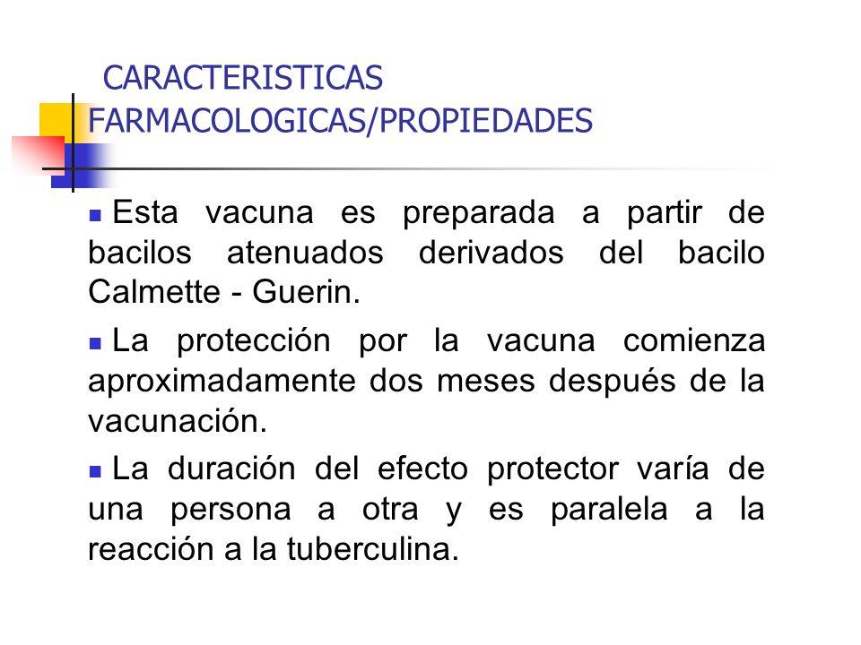 CARACTERISTICAS FARMACOLOGICAS/PROPIEDADES Esta vacuna es preparada a partir de bacilos atenuados derivados del bacilo Calmette - Guerin.