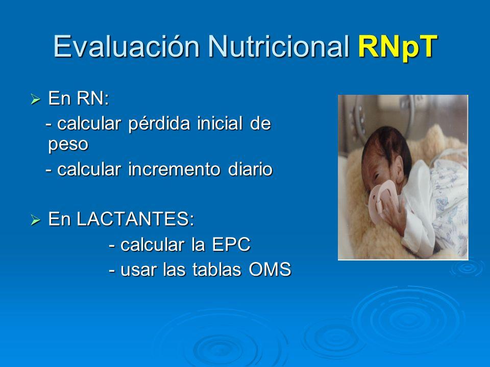 Evaluación Nutricional RNpT En RN: En RN: - calcular pérdida inicial de peso - calcular pérdida inicial de peso - calcular incremento diario - calcula
