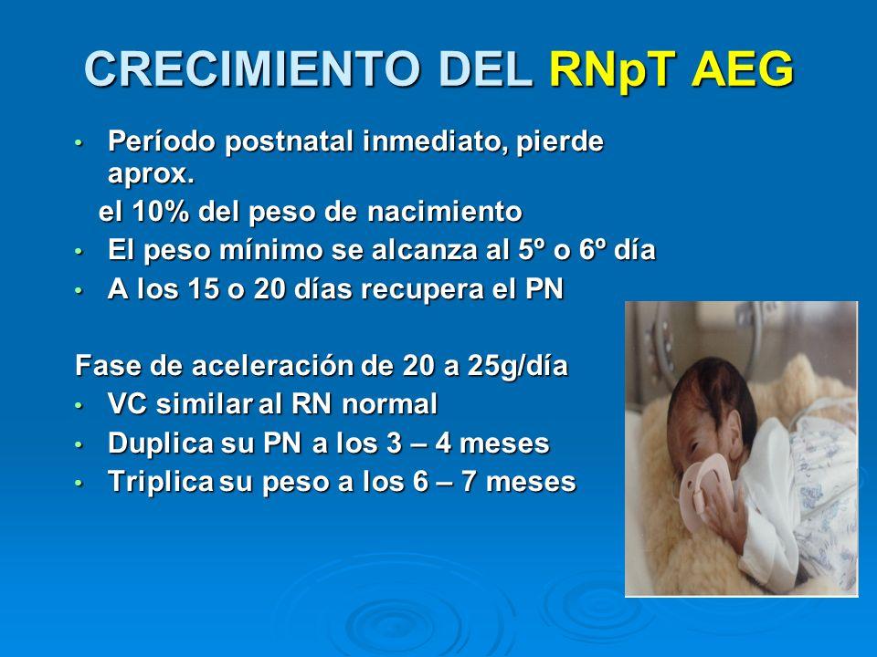 CRECIMIENTO DEL RNpT AEG Período postnatal inmediato, pierde aprox. Período postnatal inmediato, pierde aprox. el 10% del peso de nacimiento el 10% de