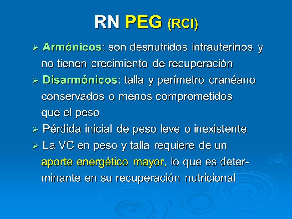 RN PEG (RCI) Armónicos: son desnutridos intrauterinos y Armónicos: son desnutridos intrauterinos y no tienen crecimiento de recuperación no tienen cre