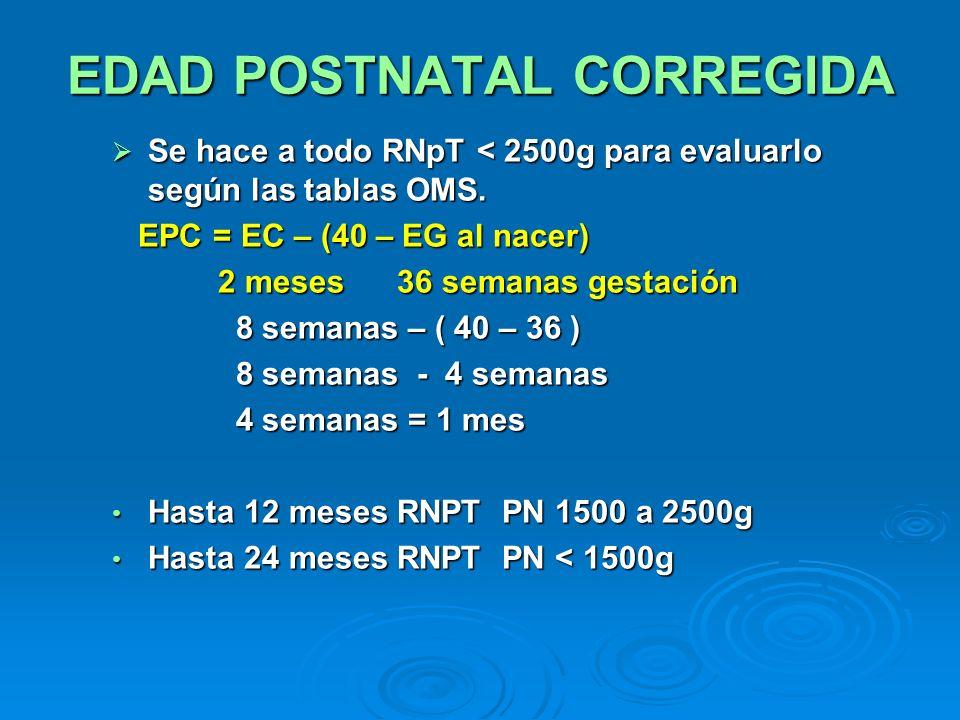 EDAD POSTNATAL CORREGIDA Se hace a todo RNpT < 2500g para evaluarlo según las tablas OMS. Se hace a todo RNpT < 2500g para evaluarlo según las tablas