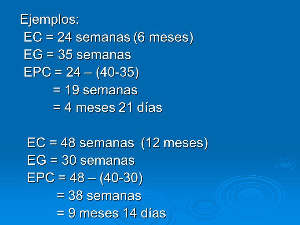 Ejemplos: Ejemplos: EC = 24 semanas (6 meses) EC = 24 semanas (6 meses) EG = 35 semanas EG = 35 semanas EPC = 24 – (40-35) EPC = 24 – (40-35) = 19 sem
