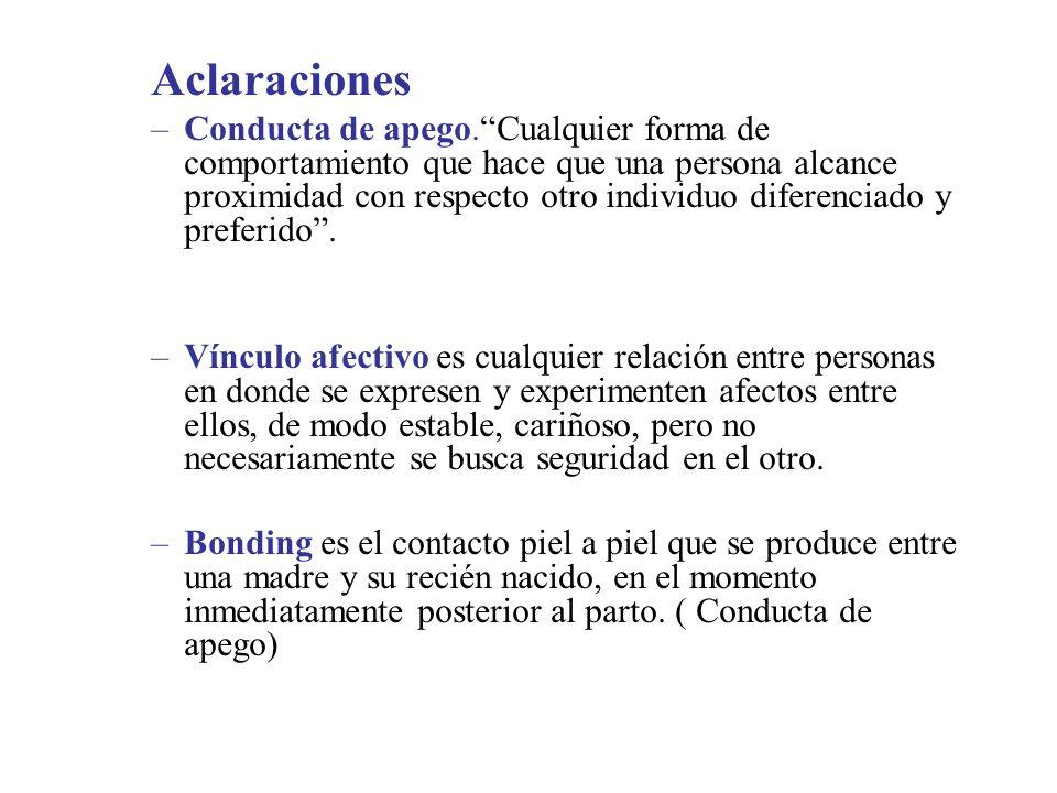 Aclaraciones –Conducta de apego.Cualquier forma de comportamiento que hace que una persona alcance proximidad con respecto otro individuo diferenciado