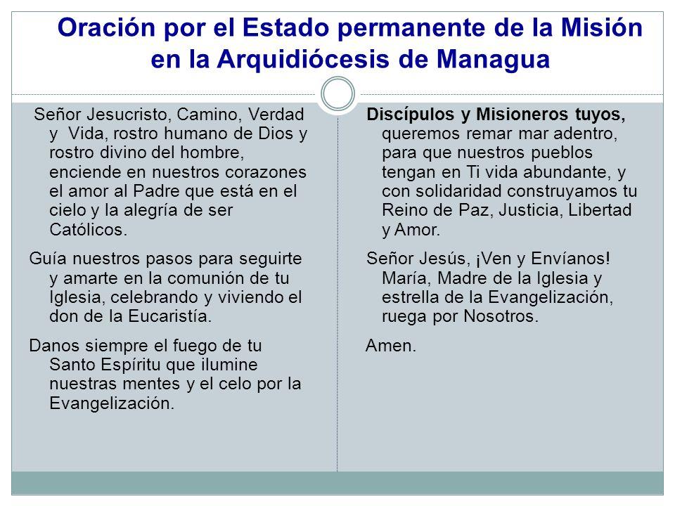 Oración por el Estado permanente de la Misión en la Arquidiócesis de Managua Señor Jesucristo, Camino, Verdad y Vida, rostro humano de Dios y rostro d