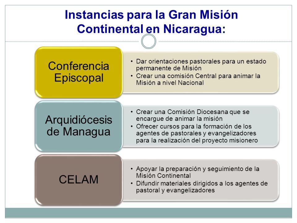 Instancias para la Gran Misión Continental en Nicaragua: Dar orientaciones pastorales para un estado permanente de Misión Crear una comisión Central p