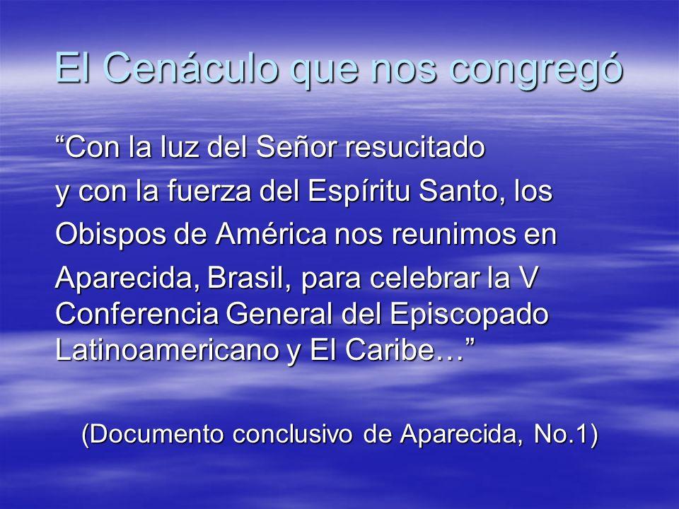 Al día siguiente, el 13 de Mayo, en este mismo santuario, en la celebración eucarística de inauguración de la V Conferencia, el Papa retomó la imagen del cenáculo, señalando dos detalles providenciales.