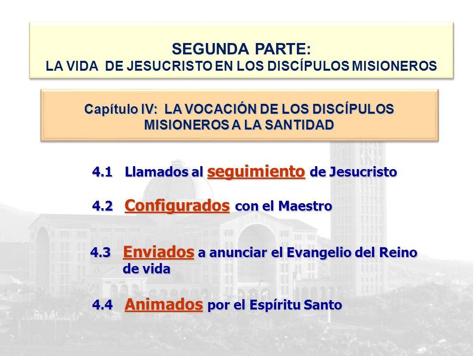 4.1 Llamados al seguimiento de Jesucristo 4.2 Configurados con el Maestro 4.3 Enviados a anunciar el Evangelio del Reino de vida 4.4 Animados por el E