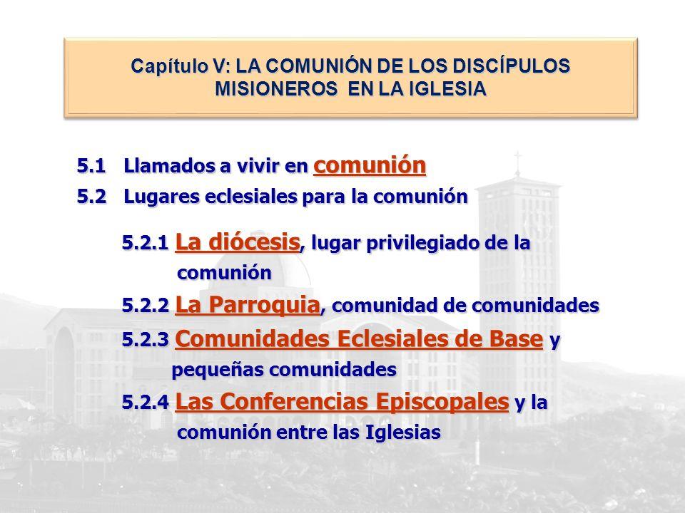 5.1 Llamados a vivir en comunión 5.2 Lugares eclesiales para la comunión 5.2.1 La diócesis, lugar privilegiado de la 5.2.1 La diócesis, lugar privileg