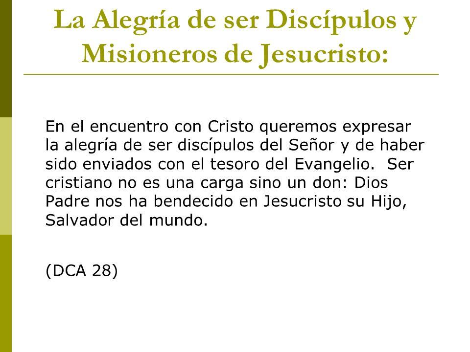 En el encuentro con Cristo queremos expresar la alegría de ser discípulos del Señor y de haber sido enviados con el tesoro del Evangelio. Ser cristian