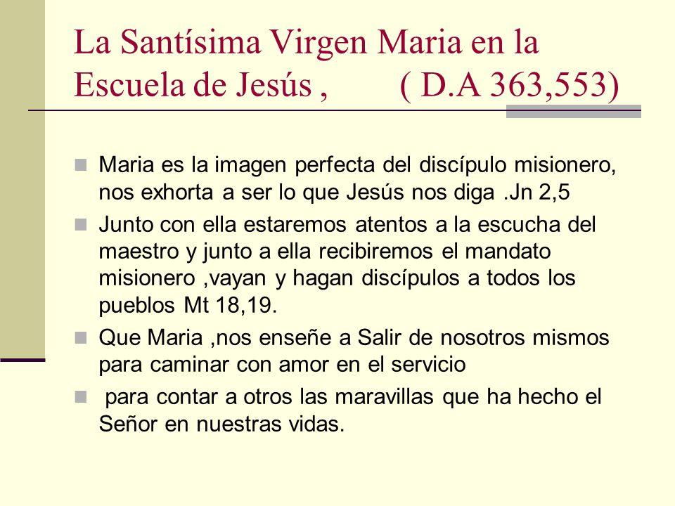 La Santísima Virgen Maria en la Escuela de Jesús, ( D.A 363,553) Maria es la imagen perfecta del discípulo misionero, nos exhorta a ser lo que Jesús n
