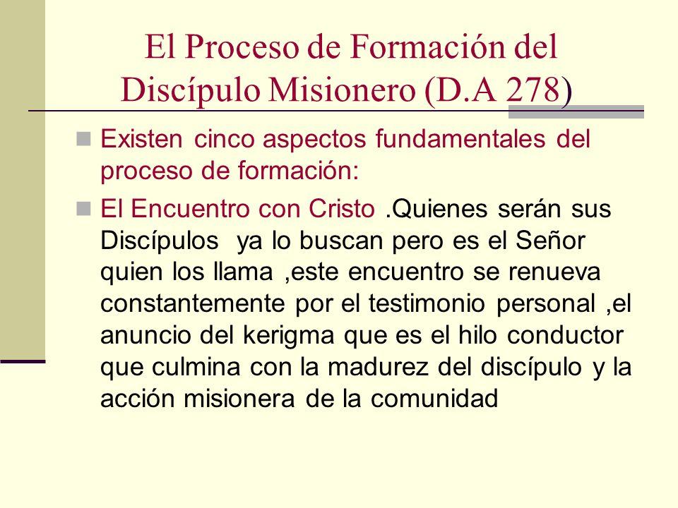 El Proceso de Formación del Discípulo Misionero (D.A 278) Existen cinco aspectos fundamentales del proceso de formación: El Encuentro con Cristo.Quien
