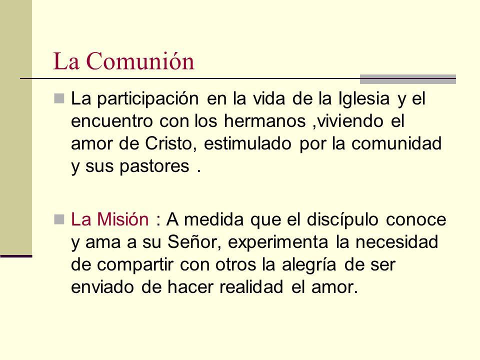 La Comunión La participación en la vida de la Iglesia y el encuentro con los hermanos,viviendo el amor de Cristo, estimulado por la comunidad y sus pa