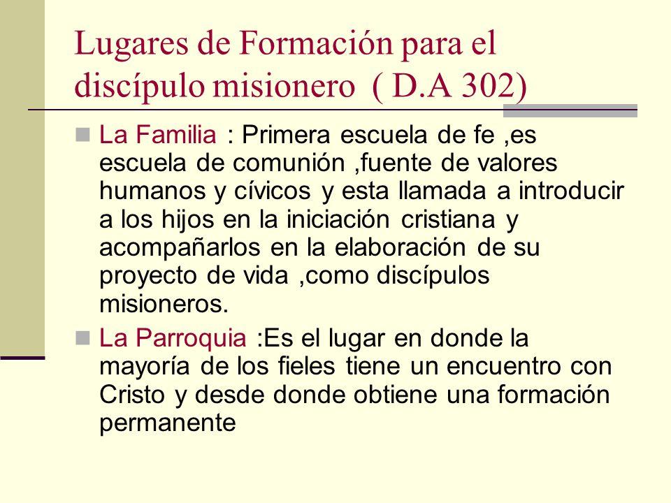 Lugares de Formación para el discípulo misionero ( D.A 302) La Familia : Primera escuela de fe,es escuela de comunión,fuente de valores humanos y cívi