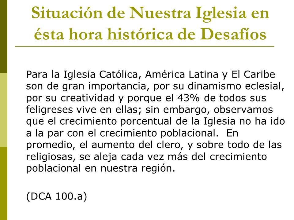 Situación de Nuestra Iglesia en ésta hora histórica de Desafíos Para la Iglesia Católica, América Latina y El Caribe son de gran importancia, por su d