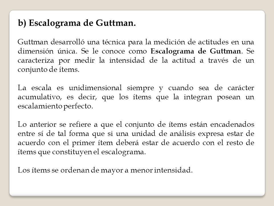 b) Escalograma de Guttman. Guttman desarrolló una técnica para la medición de actitudes en una dimensión única. Se le conoce como Escalograma de Guttm