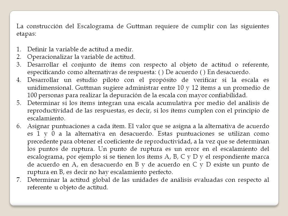 La construcción del Escalograma de Guttman requiere de cumplir con las siguientes etapas: 1.Definir la variable de actitud a medir. 2.Operacionalizar