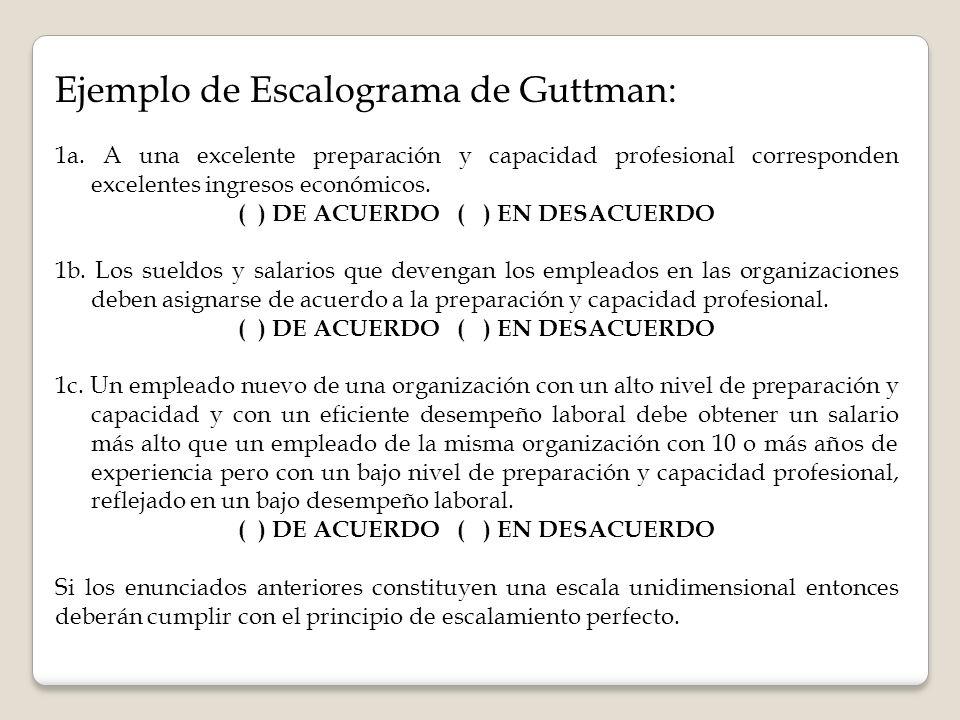 Ejemplo de Escalograma de Guttman: 1a. A una excelente preparación y capacidad profesional corresponden excelentes ingresos económicos. ( ) DE ACUERDO