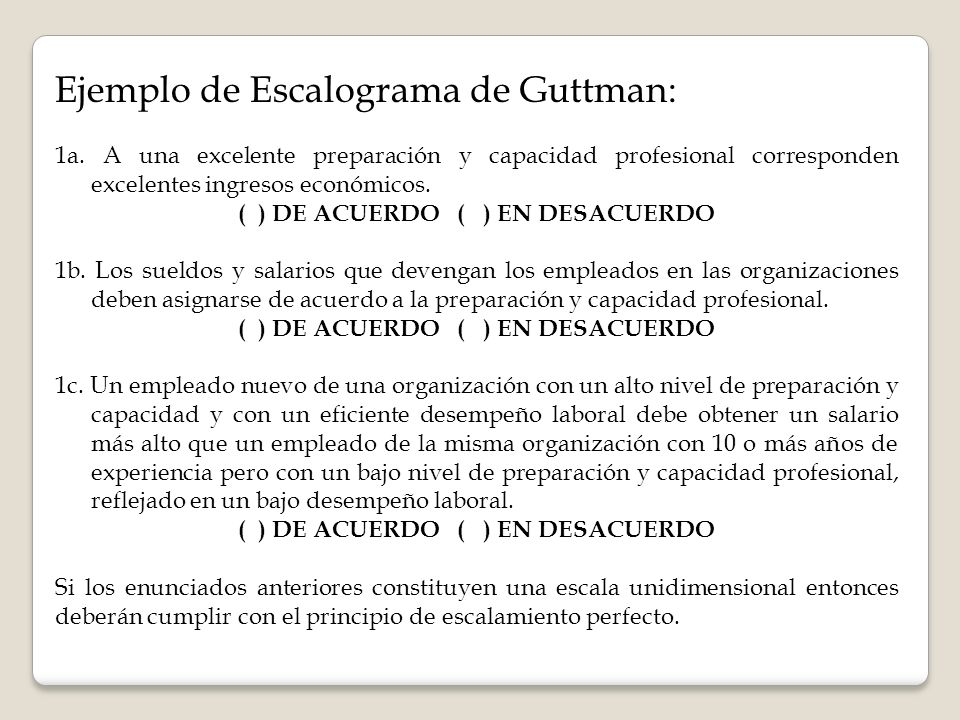 Ejemplo de Escalograma de Guttman: 1a.
