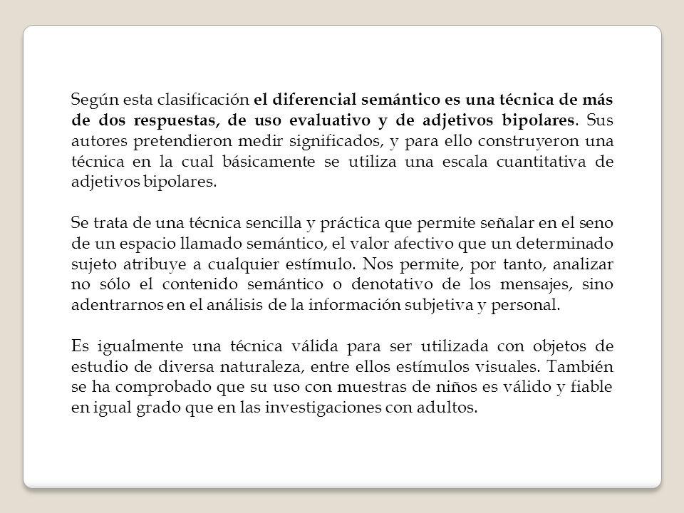 Según esta clasificación el diferencial semántico es una técnica de más de dos respuestas, de uso evaluativo y de adjetivos bipolares. Sus autores pre