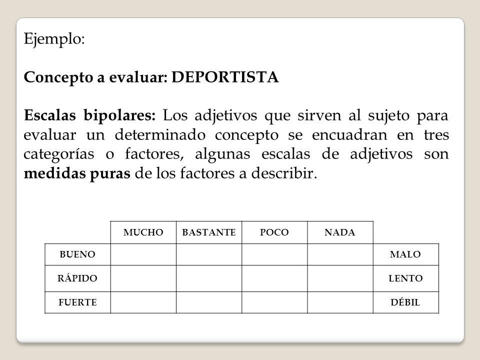 Ejemplo: Concepto a evaluar: DEPORTISTA Escalas bipolares: Los adjetivos que sirven al sujeto para evaluar un determinado concepto se encuadran en tre