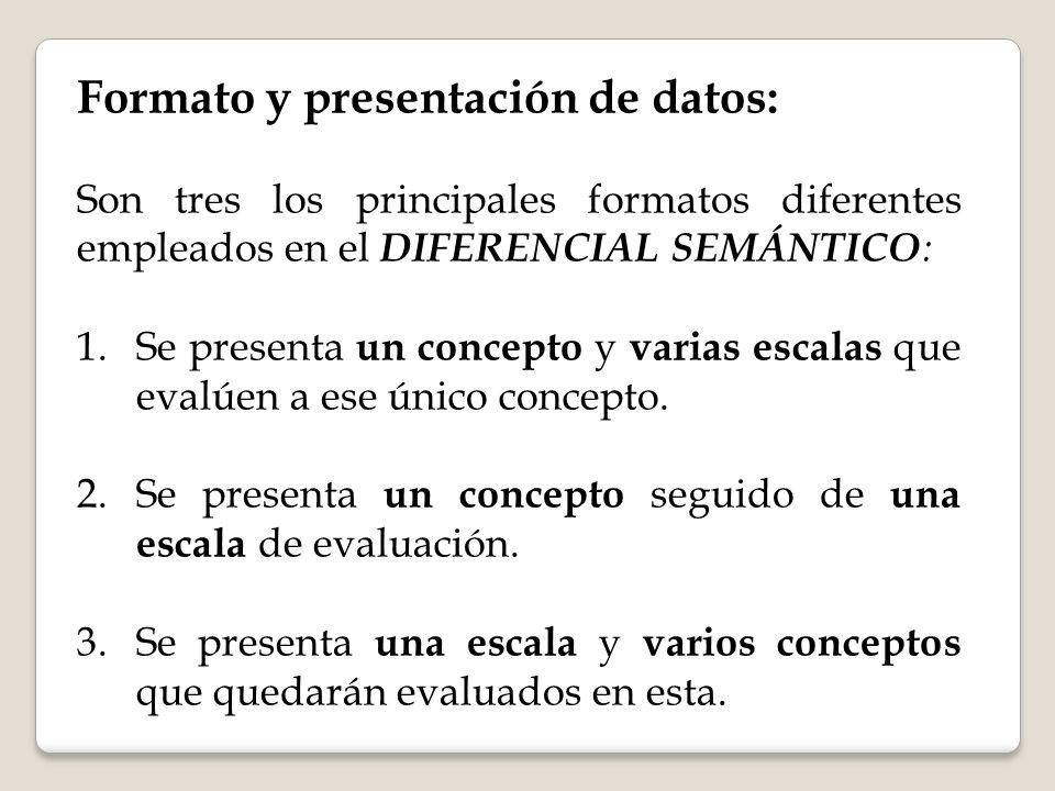 Formato y presentación de datos: Son tres los principales formatos diferentes empleados en el DIFERENCIAL SEMÁNTICO : 1.Se presenta un concepto y vari