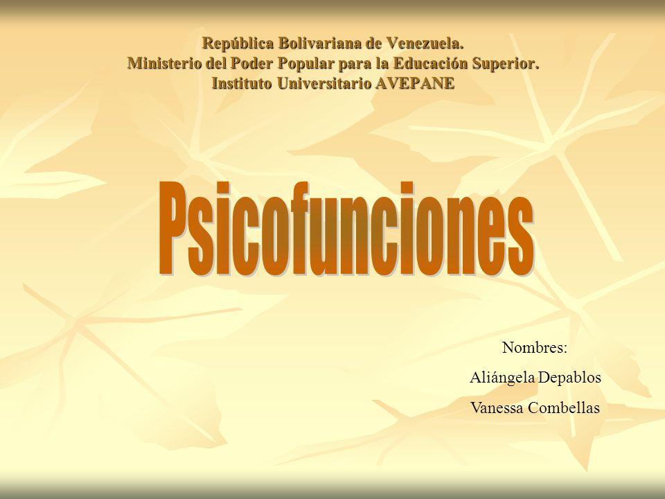 Psicofunciones Funciones psíquicas que abren las puertas al aprendizaje, a la adaptación, a conocer, asimilar, demostrar y participar.