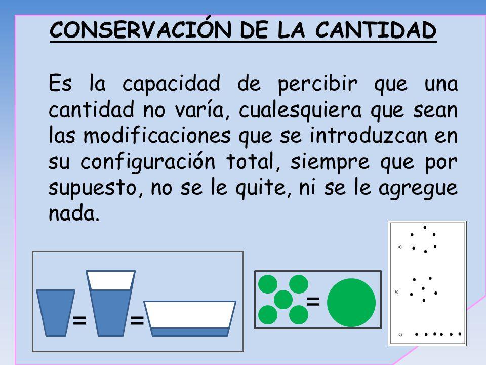 CONSERVACIÓN DE LA CANTIDAD Es la capacidad de percibir que una cantidad no varía, cualesquiera que sean las modificaciones que se introduzcan en su c