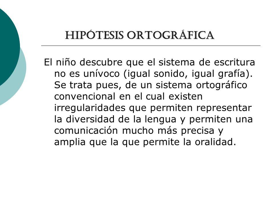 Hipótesis ortográfica El niño descubre que el sistema de escritura no es unívoco (igual sonido, igual grafía). Se trata pues, de un sistema ortográfic