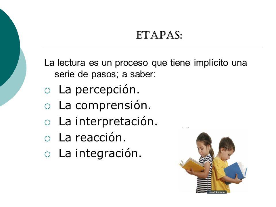 Etapas: La lectura es un proceso que tiene implícito una serie de pasos; a saber: La percepción. La comprensión. La interpretación. La reacción. La in