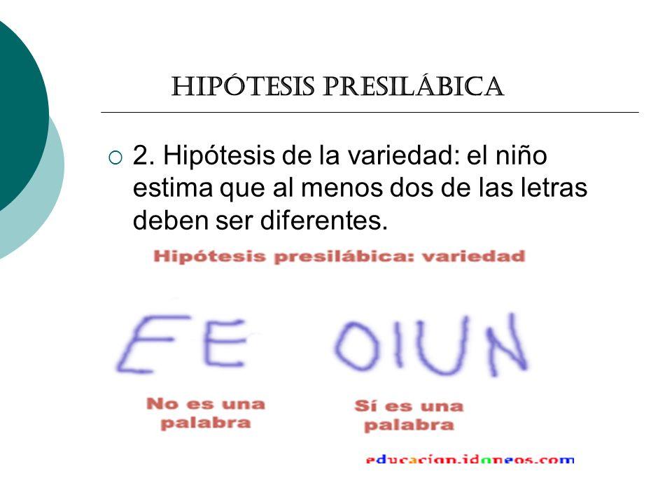 Hipótesis presilábica 2. Hipótesis de la variedad: el niño estima que al menos dos de las letras deben ser diferentes.