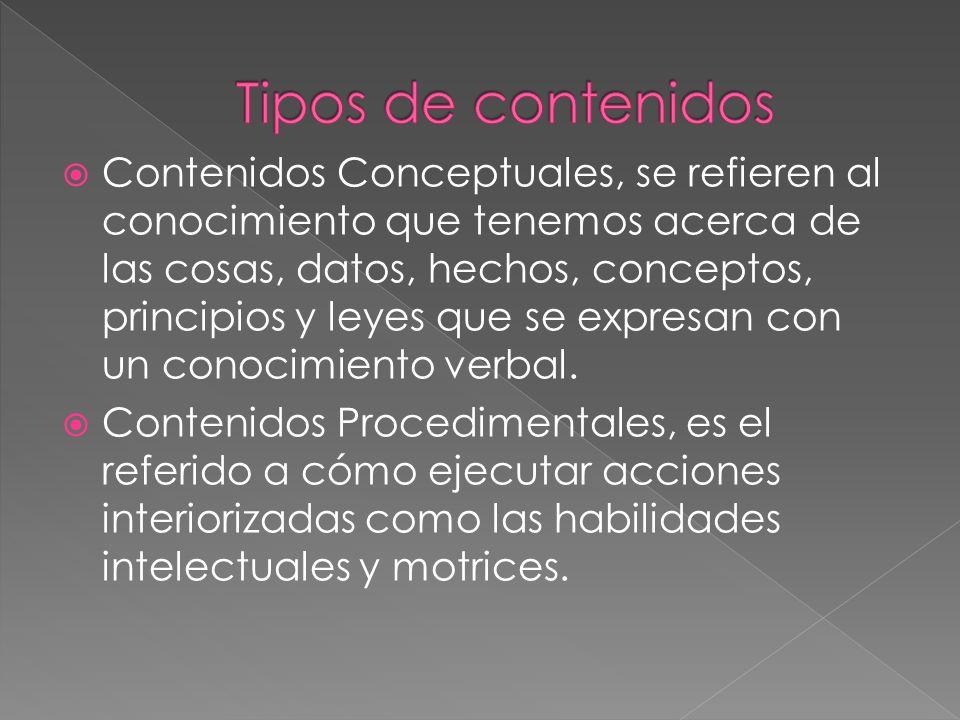 Contenidos Conceptuales, se refieren al conocimiento que tenemos acerca de las cosas, datos, hechos, conceptos, principios y leyes que se expresan con