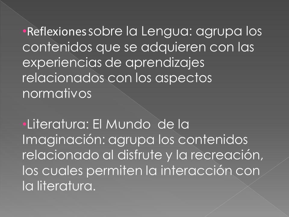 Reflexiones sobre la Lengua: agrupa los contenidos que se adquieren con las experiencias de aprendizajes relacionados con los aspectos normativos Lite