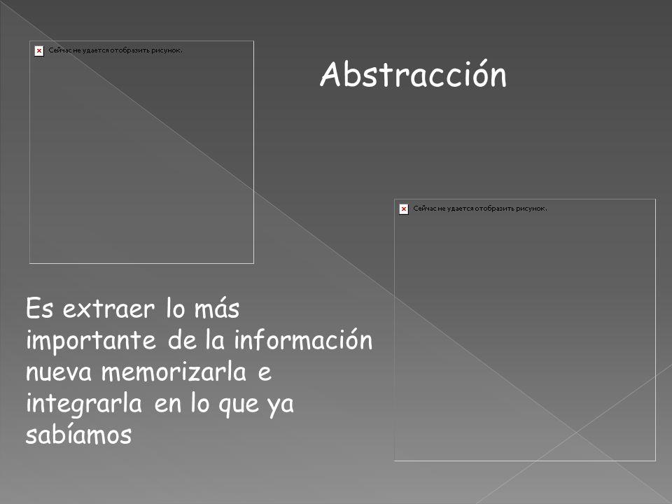 Es extraer lo más importante de la información nueva memorizarla e integrarla en lo que ya sabíamos Abstracción