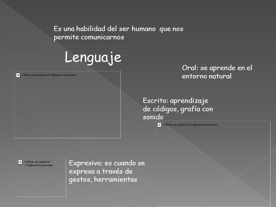 Es una habilidad del ser humano que nos permite comunicarnos Lenguaje Oral: se aprende en el entorno natural Escrito: aprendizaje de códigos, grafía con sonido Expresivo; es cuando se expresa a través de gestos, herramientas
