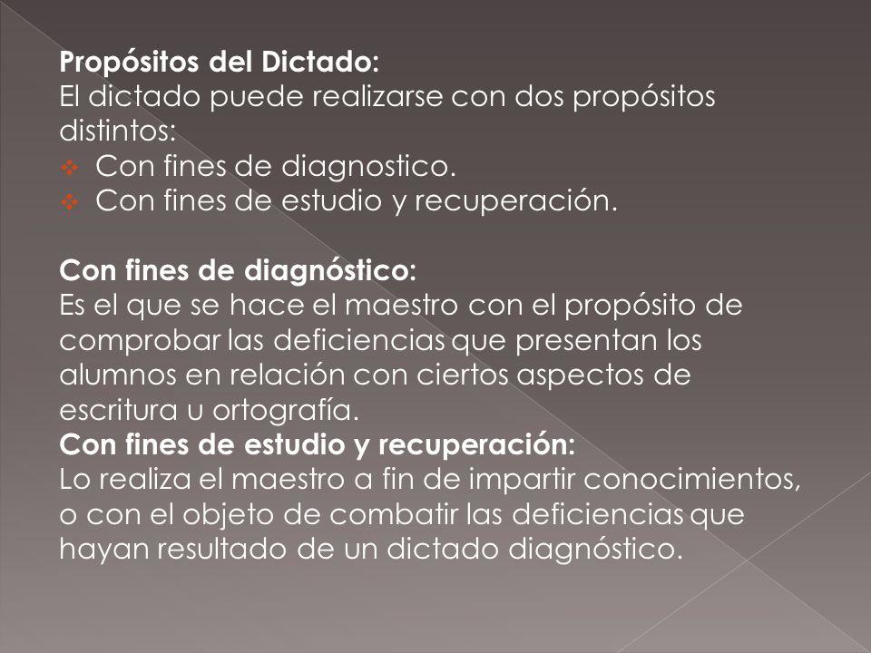 Propósitos del Dictado: El dictado puede realizarse con dos propósitos distintos: Con fines de diagnostico. Con fines de estudio y recuperación. Con f