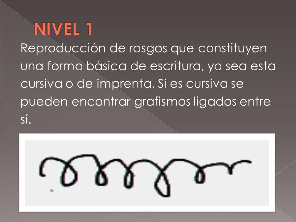 Reproducción de rasgos que constituyen una forma básica de escritura, ya sea esta cursiva o de imprenta. Si es cursiva se pueden encontrar grafismos l