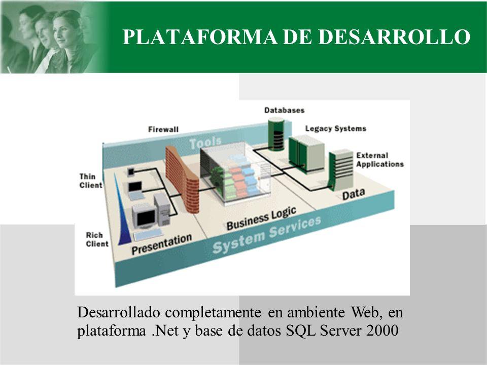 PLATAFORMA DE DESARROLLO Desarrollado completamente en ambiente Web, en plataforma.Net y base de datos SQL Server 2000