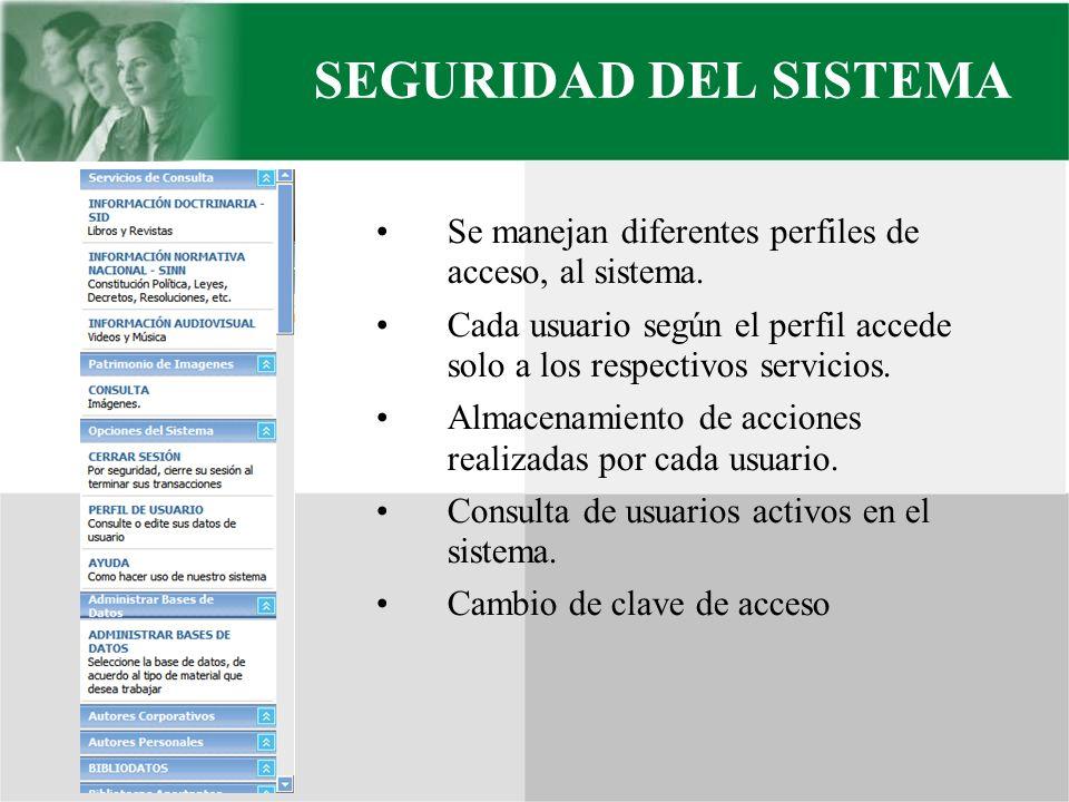 SEGURIDAD DEL SISTEMA Se manejan diferentes perfiles de acceso, al sistema. Cada usuario según el perfil accede solo a los respectivos servicios. Alma