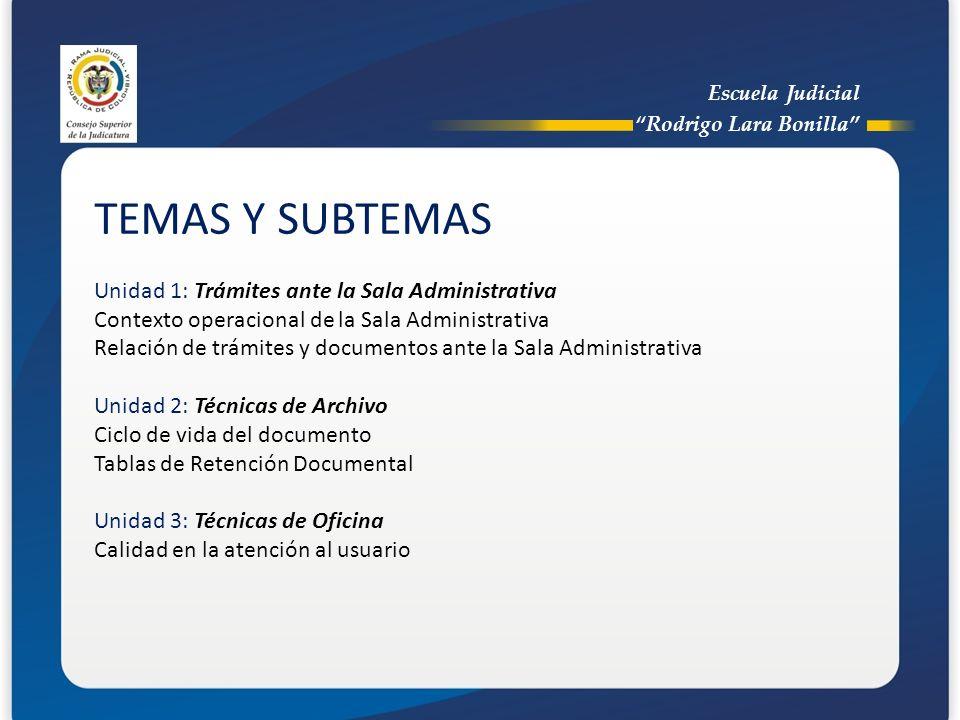 Escuela Judicial Rodrigo Lara Bonilla TEMAS Y SUBTEMAS Unidad 1: Trámites ante la Sala Administrativa Contexto operacional de la Sala Administrativa R