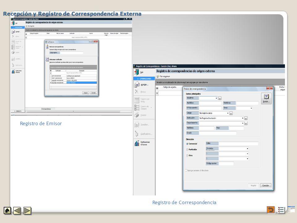 Recepción y Registro de Correspondencia Externa Registro de Emisor Registro de Correspondencia