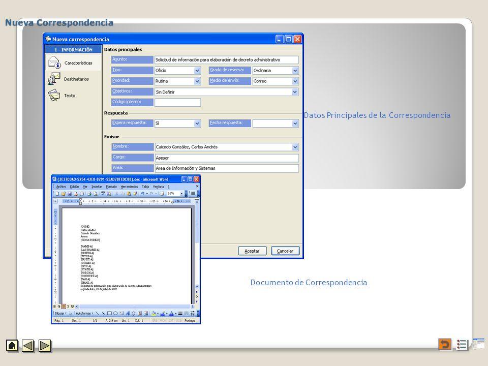Nueva Correspondencia Datos Principales de la Correspondencia Documento de Correspondencia
