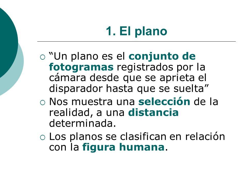 1. El plano Un plano es el conjunto de fotogramas registrados por la cámara desde que se aprieta el disparador hasta que se suelta Nos muestra una sel